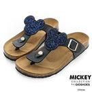 Disney 簡約舒適~米奇亮片休閒夾腳拖鞋-黑
