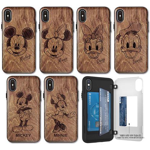 迪士尼 仿木紋 手機殼│側開卡夾│iPhone 7 8 Plus SE X XS MAX XR 11 PRO│z8908