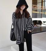 BS貝殼【DEC9676】東大門當季款 韓國女裝 韓妞最愛 可哺乳可當襯衫外套 加大尺碼直條雪紡襯衫