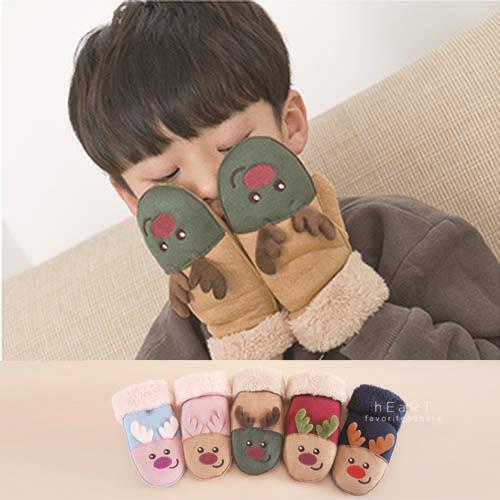 麂皮手感聖誕麋鹿包指保暖手套 兒童手套 麂皮手套 冬季保暖