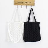 斜背包 蕾絲 鏤空 拼接 手提包 帆布包 環保購物袋-手提/單肩/斜背包