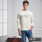 【JEEP】冒險迷彩文字長袖TEE (象牙白)