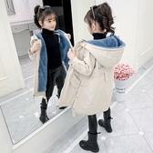 女孩連帽保暖百搭女童外套 工裝秋冬羽絨服 中大童韓版外套 加絨中長款潮流夾克兒童裝棉服