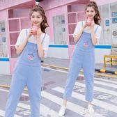 學院風時尚百搭牛仔背帶褲女春季學生個性刺繡吊帶9分褲 東京衣秀