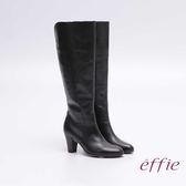 effie 都會風情 全真皮簡約線條及膝高跟長靴 黑