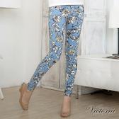 Victoria  低腰印花窄直筒褲-女-淺藍-VW214851