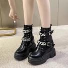 短靴馬丁靴女英倫風2021新款春秋單靴厚底中筒瘦瘦靴子內增高百搭短靴