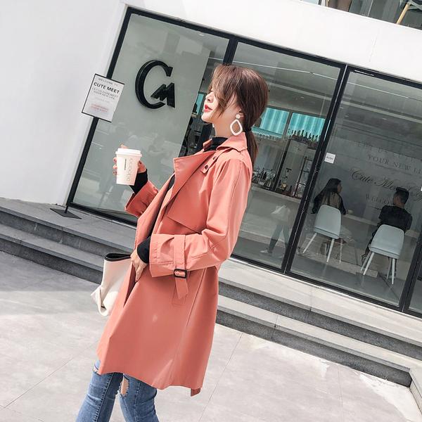 超殺29折 韓國風純色時尚綁帶風衣單品外套