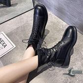 短靴馬丁靴時尚百搭英倫風綁帶女靴子【邻家小鎮】