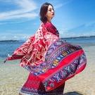 披肩 尼泊爾兩用圍巾民族風流蘇披肩空調紗巾女夏海邊度假沙灘印花絲巾 曼慕衣櫃