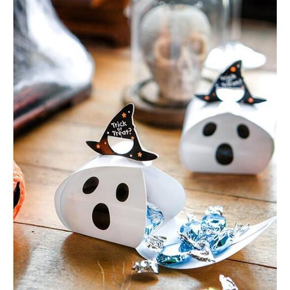 【BlueCat】萬聖節啾咪小南瓜驚嚇白幽靈星星帽糖果盒 西點盒 餅乾盒