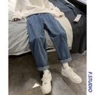 港風春季寬松直筒牛仔褲男潮流復古垂感中性闊腿老爹褲