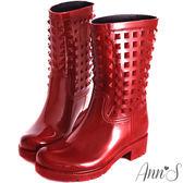 Ann'S個性百搭-糖果鉚釘防水雨靴 紅
