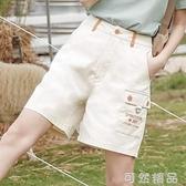 短褲夏季新款工裝褲女顯瘦高腰褲子寬鬆女士休閒五分褲 可然精品