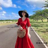 沙灘裙女顯瘦海邊度假長裙子紅色連身裙【時尚大衣櫥】