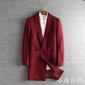 大碼呢子外套 新款秋冬季風衣男中長款西裝領潮流帥氣大衣男士呢子外套 qf12526【小美日記】