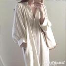 棉麻連身裙 韓國chic寬鬆慵懶風小眾棉麻襯衣裙女中長款V領過膝白色連身裙子 愛麗絲