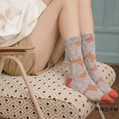 3雙裝 花紋中筒襪日系純棉小腿襪花朵堆堆襪襪子女潮【時尚大衣櫥】