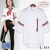 襯衫MIT海軍風喇叭袖寬鬆OL女白透氣襯衫LIYO理優-高級面料E815012