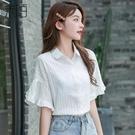 夏季女士短袖雪紡白襯衫女裝夏裝2021年新款內搭上衣收腰小衫襯衣 果果輕時尚