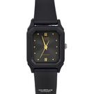 CASIO手錶 小巧方形黑金矽膠錶NEC...