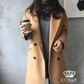 毛呢外套 女加厚秋冬新款女裝韓版大碼寬松中長款呢子大衣