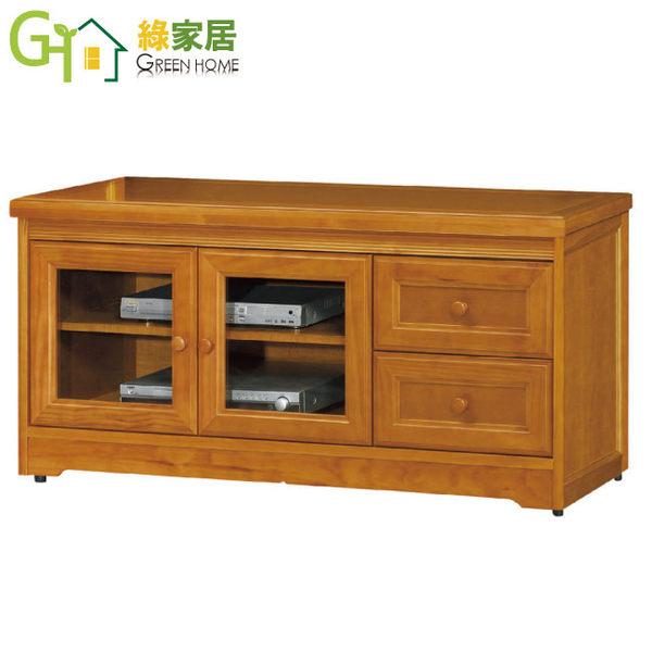 【綠家居】羅爾 樟木色4.3尺實木收納櫃/電視櫃