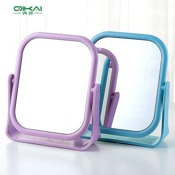 618好康又一發化妝鏡臺式方形簡約超大號公主鏡雙面鏡鏡子書桌宿舍梳妝鏡可旋轉