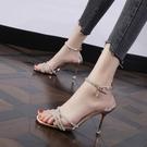 高跟鞋細跟時尚涼鞋女2021夏新款網紅性感透明水鑚一字帶百搭女鞋 果果輕時尚