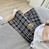格子短褲女夏季薄款寬鬆闊腿五分褲高腰顯瘦直筒運動中褲【聚物優品】