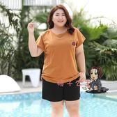 大尺碼上衣 特肥大碼女裝短袖t恤女胖mm100公斤寬鬆遮肚子上衣加肥加大體恤顯瘦 3XL-7XL