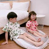 夏季兒童睡衣男女童純棉日系和服套裝寶寶全棉空調服水果印花短袖 檸檬衣捨igo