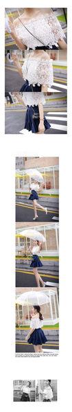 (全館一件免運)DE SHOP~韓 蕾絲衫甜美簍空一字領短袖上衣性感露肩雪紡衫(GH-594)