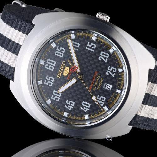 SEIKO  SRPA93J1 精工五號賽車帆布限量機械表 4R35-01M0G 黑x白