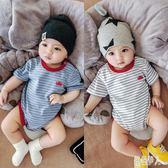男寶寶衣服夏裝嬰兒連體衣短袖棉質包屁衣女舒適三角寬鬆哈衣夏季 GD1894『紅袖伊人』