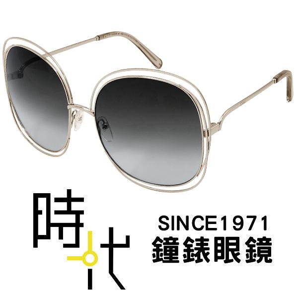 【台南 時代眼鏡 Chloé】太陽眼鏡 CE126S 733 62mm 法國時尚 圓框墨鏡 灰色漸層 金框