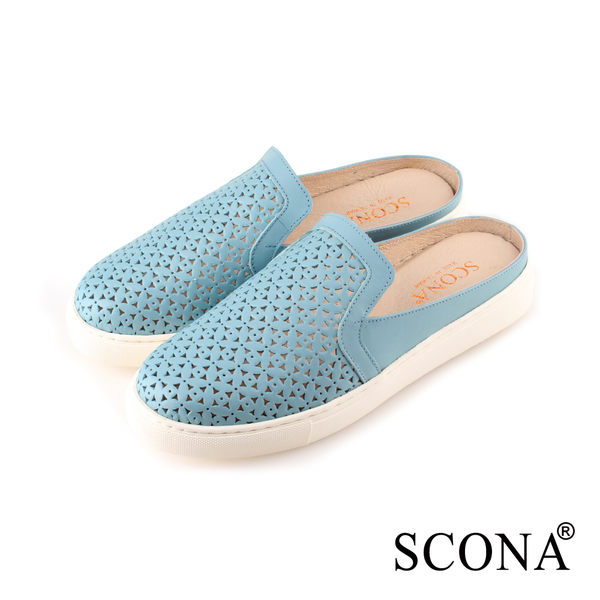 SCONA 蘇格南 全真皮 簡約舒適半包式懶人鞋 藍色 7276-2