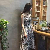 韓國復古CHIC風修身顯瘦印花中長款連身裙小性感顯瘦氣質吊帶裙子