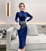 洋裝禮服2020秋冬新款時尚個性腰封修身顯瘦長袖連身裙滿天星絲絨裙子T647-A.1號公館