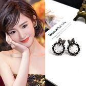 【NiNi Me】夾式耳環 甜美蝴蝶結鏤空圓圈水鑽夾式耳環 夾式耳環 E0109