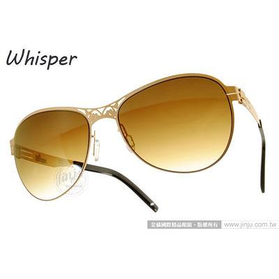 WHISPER 太陽眼鏡 WHM1335S C37 (霧金-黑) 結合複合薄鋼新材質 墨鏡 # 金橘眼鏡