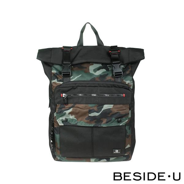 【BESIDE-U】 FLAPPING系列大容量輕巧休閒後背包  - 迷彩綠