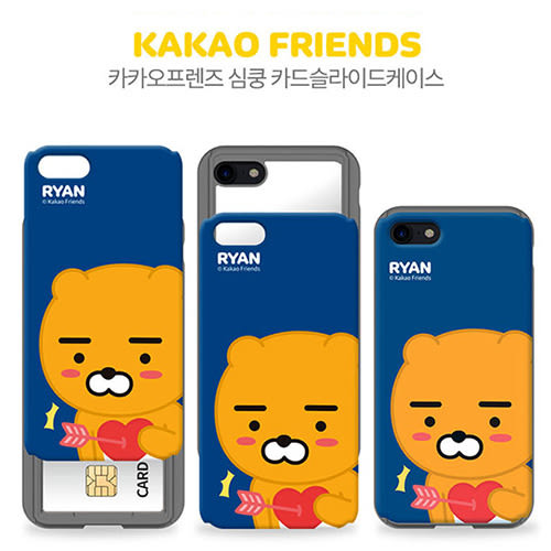 韓國 KAKAO FRIENDS 上下滑蓋卡夾 防摔軟殼 手機殼│iPhone 6 6S 7 8 Plus X S7 Edge S8 S9 Note5 Note8 Note9│z8181