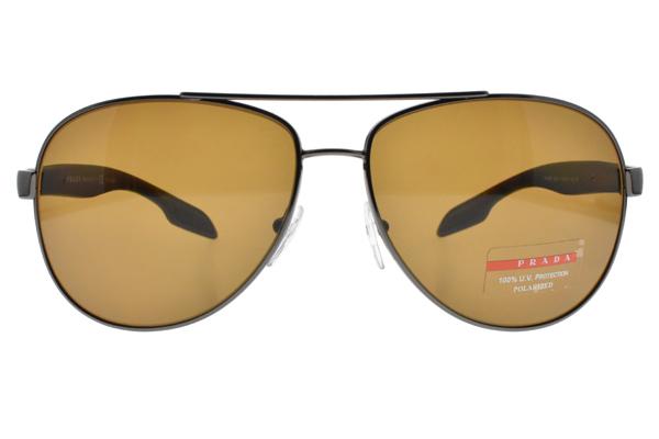 PRADA 偏光太陽眼鏡SPS53P 5AV-5Y1 (槍黑-棕鏡片) 率性飛行款 # 金橘眼鏡