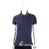 Emporio Armani 撞色飾邊深藍棉質短袖POLO衫(男款) 1920705-34