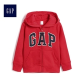 Gap男嬰幼童 Logo基本款拉鏈連帽長袖休閒外套 375501-正紅色