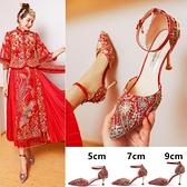 紅秀禾婚鞋2021年新款夏季紅色高跟鞋女細跟秀禾服紅鞋新娘鞋結婚3 幸福第一站