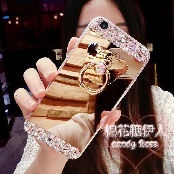 oppo r9s奢華鏡面矽膠鉆小熊卡通女款手機殼LVV2878【棉花糖伊人】