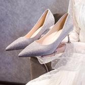 高跟鞋 2020年新款百搭單鞋細跟尖頭女鞋高跟伴娘鞋白色婚紗中跟結婚鞋子 韓國時尚週