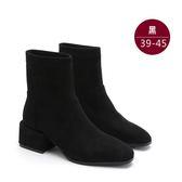 中大尺碼女鞋 歐美絨面內加絨厚跟靴/中筒靴 39~45碼 172巷鞋舖【YD88-12】